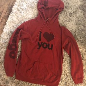 "Free City ""I Love You"" Red Pullover Hoodie Size L"